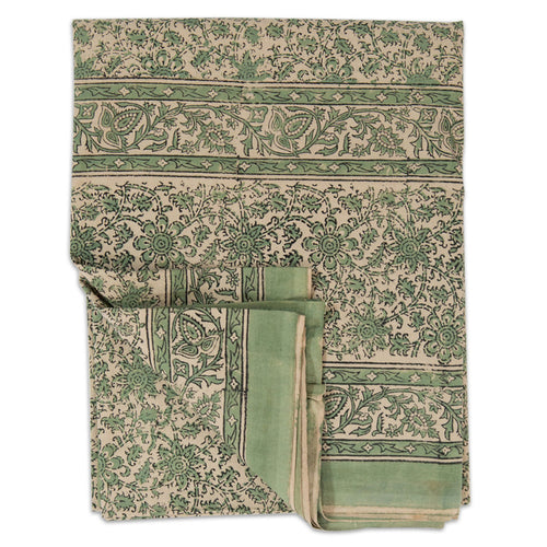 Furbish Studio - Ella Tablecloth or Bed Cover in Green and Ivory Floral