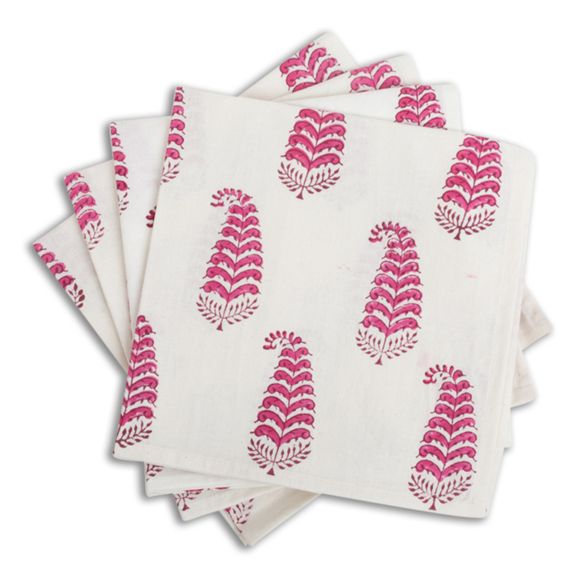 Fuschia Ferns Blockprint Napkin