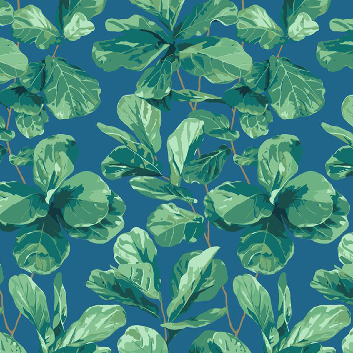 Fiddle Fig Removable Wallpaper - Cadet Blue