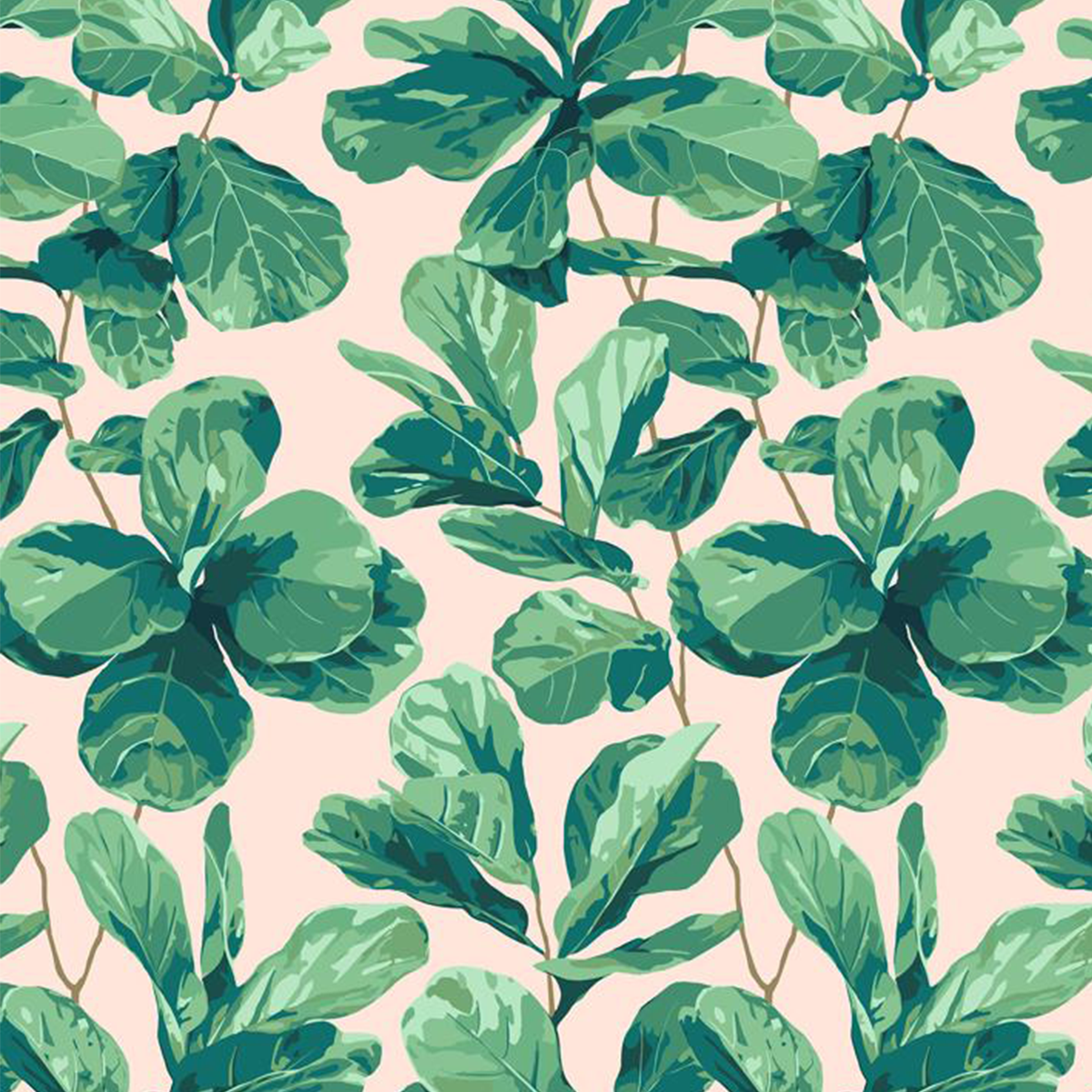 Fiddle Fig Wallpaper - Peach
