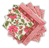 Furbish Studio - Pretty in Pink Napkin with pink and green floral design and chevron border showing group of four