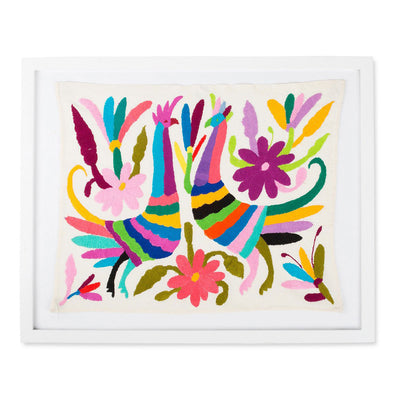 Furbish Studio - Framed Otomi Handmade Art colorful embroidered face to face roosters