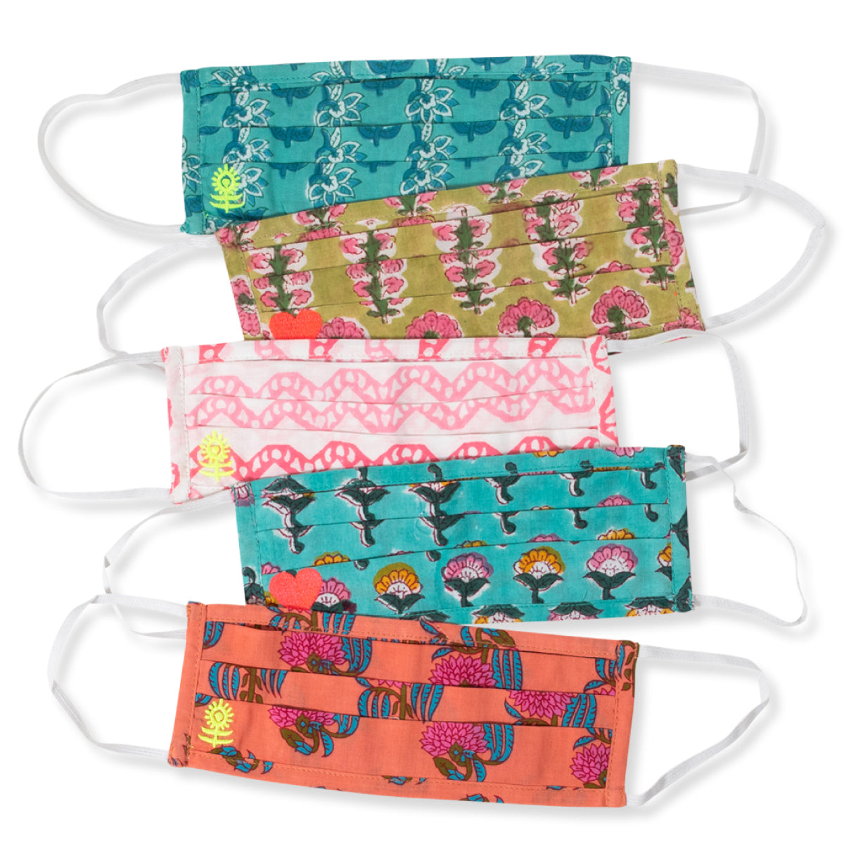 Blockprint Embroidered Facemasks S/5 - Charming and Chic
