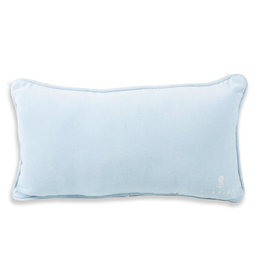Furbish Studio Exclusive - Go Low, Get High Needlepoint Pillow showing light blue velvet back