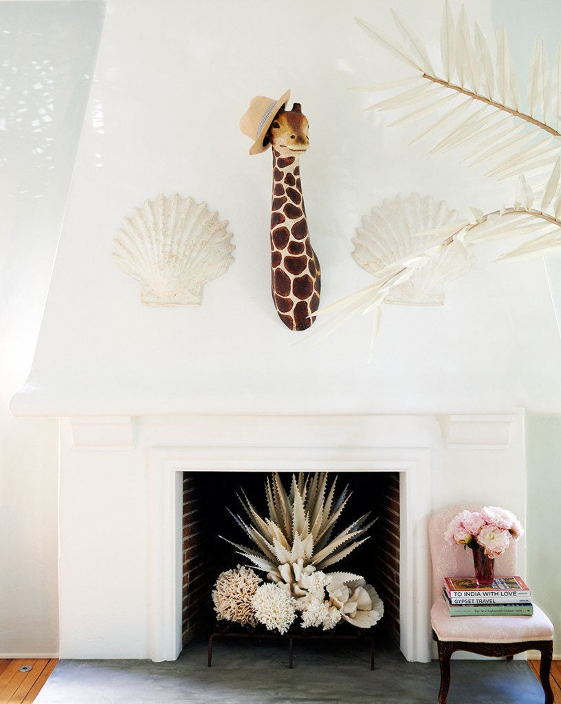 Furbish Studio - Maguey Natural Canvas Plant shown styled  in fireplace