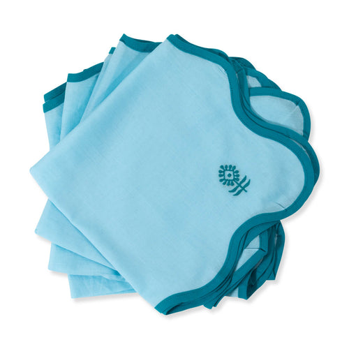 Furbish Studio - Inez Cotton Napkin in Azure stack of 4