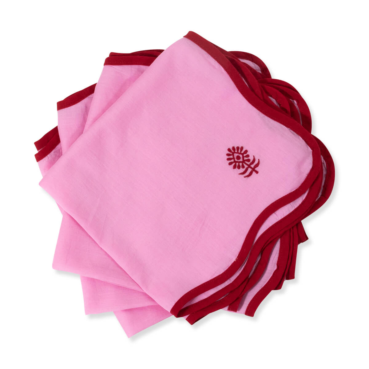 Furbish Studio - Inez Napkin in Pink stack of 4