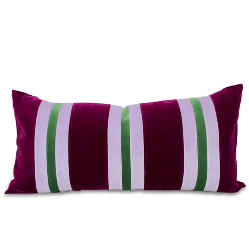 Furbish Studio - Gianna Striped Velvet Lumbar Pillow in Mulberry, Grass Green and Lavender front view