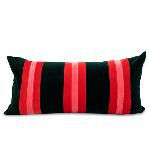 Furbish Studio - Gianna Striped Velvet Lumbar Pillow in Spruce, Pink and Tomato Red front view