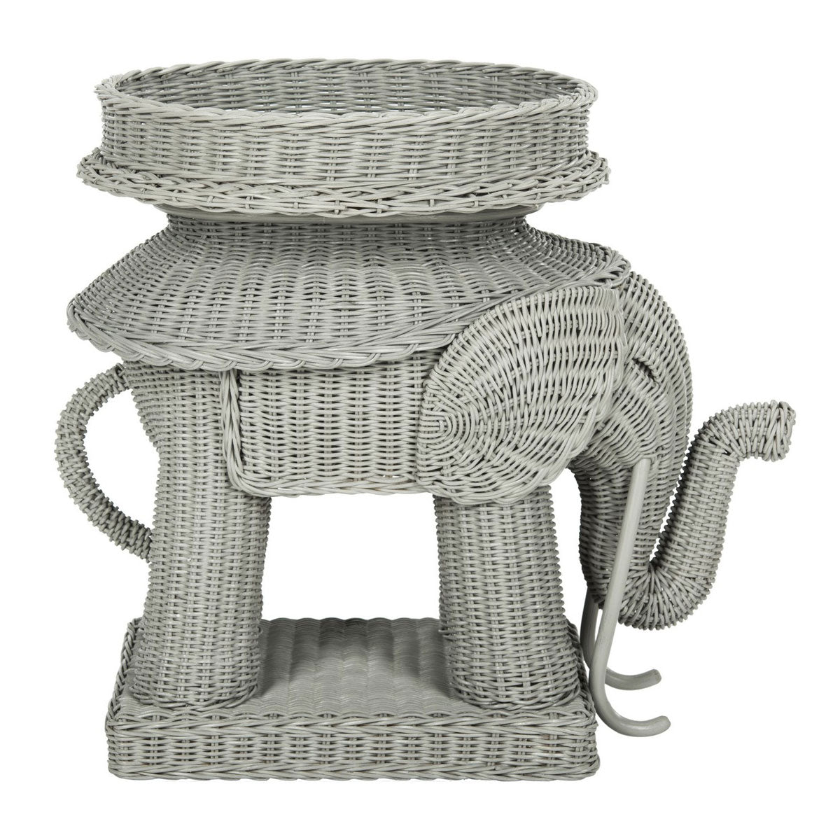 Furbish Studio - Jaipur Wicker Elephant Side Table in Gray side view