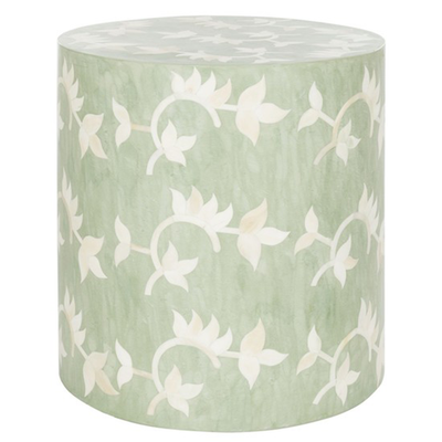 Bone Inlay Garden Stool - Seafoam