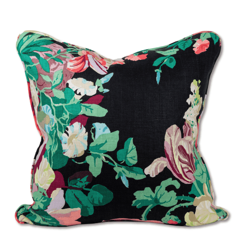 Greenbrier Floral Linen Pillow - Black