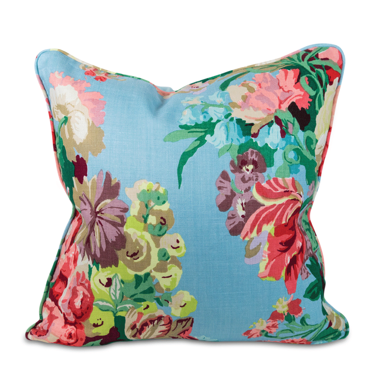 Greenbrier Floral Linen Pillow - Aqua
