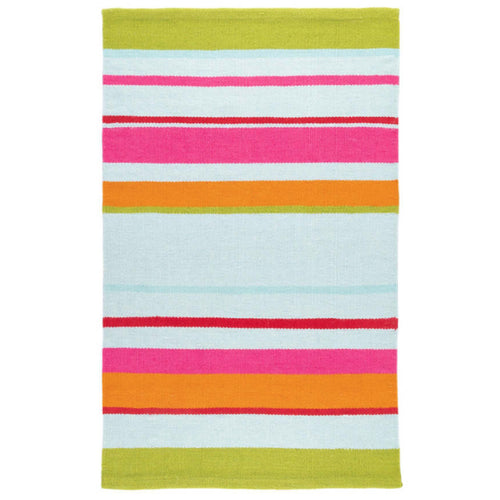 Furbish - Hartwood Striped Indoor/Outdoor Rug fiery orange, coral, red,  pink, and aqua