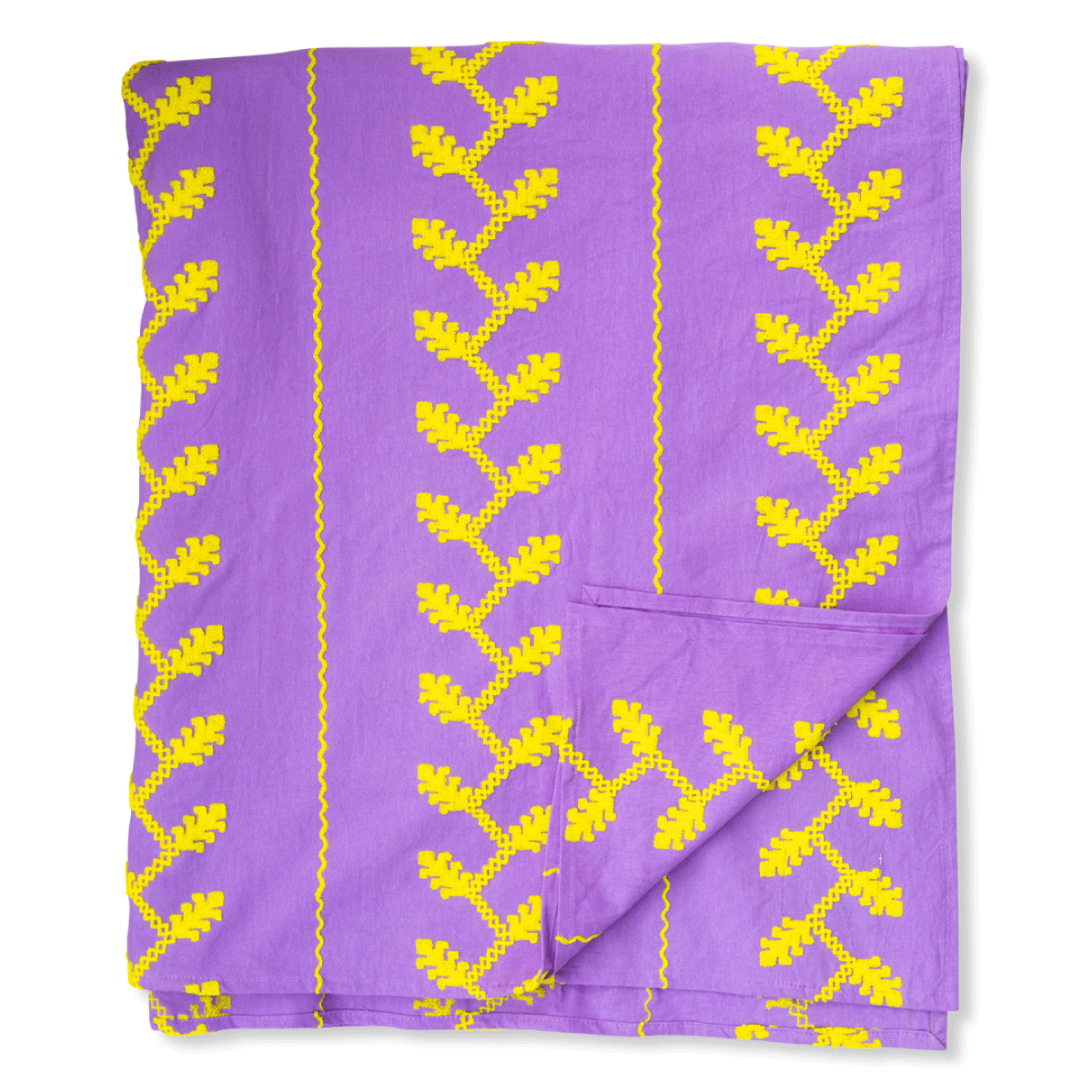 Helena Embroidered Textile - Lilac and Neon Yellow