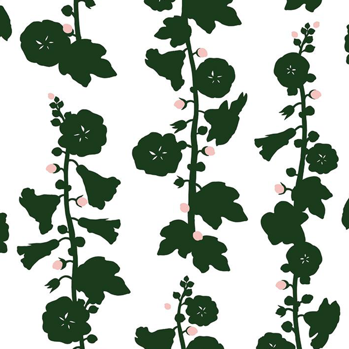 Hollyhock Wallpaper - Green