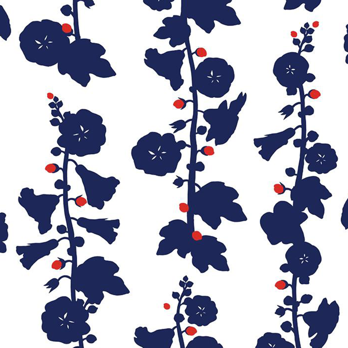 Hollyhock Wallpaper - Navy