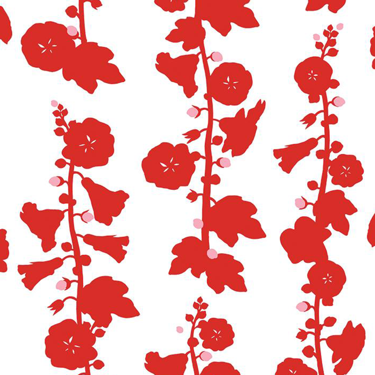 Hollyhock Wallpaper - Red