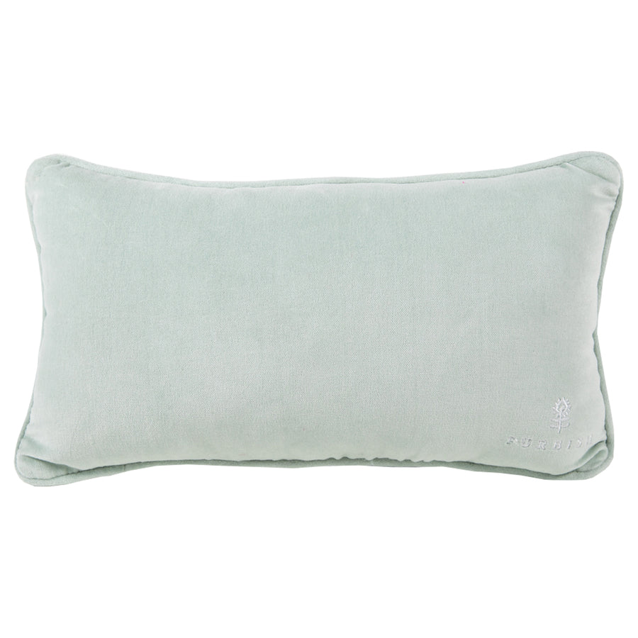 Furbish Studio Exclusive - Whatever Bitches Needlepoint Pillow pale mint green velvet back