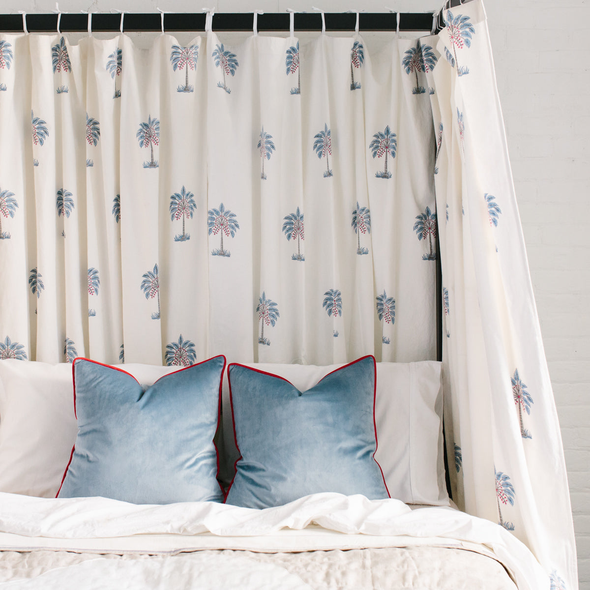 Island Palm Tie-Top Curtains