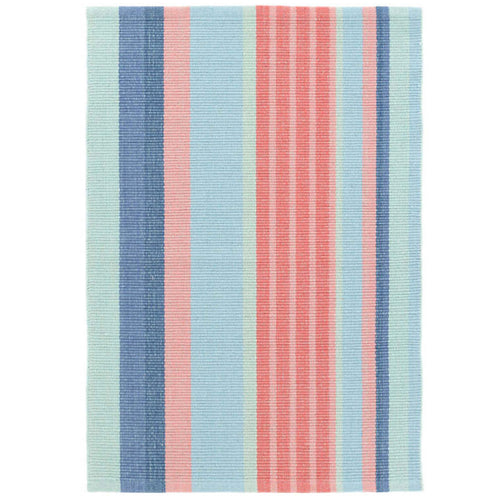 Furbish Studio - Isle of Palms Striped Rug with blues, corals and melon colors