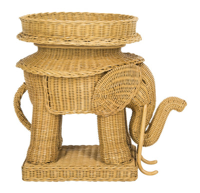Furbish Studio - Jaipur Wicker Elephant Side Table side view
