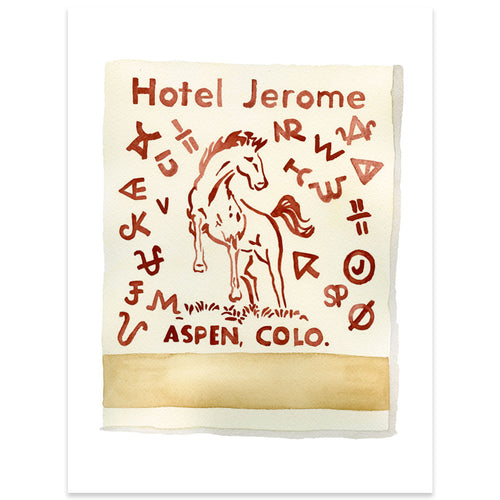 Jerome Hotel Matchbook Watercolor Print