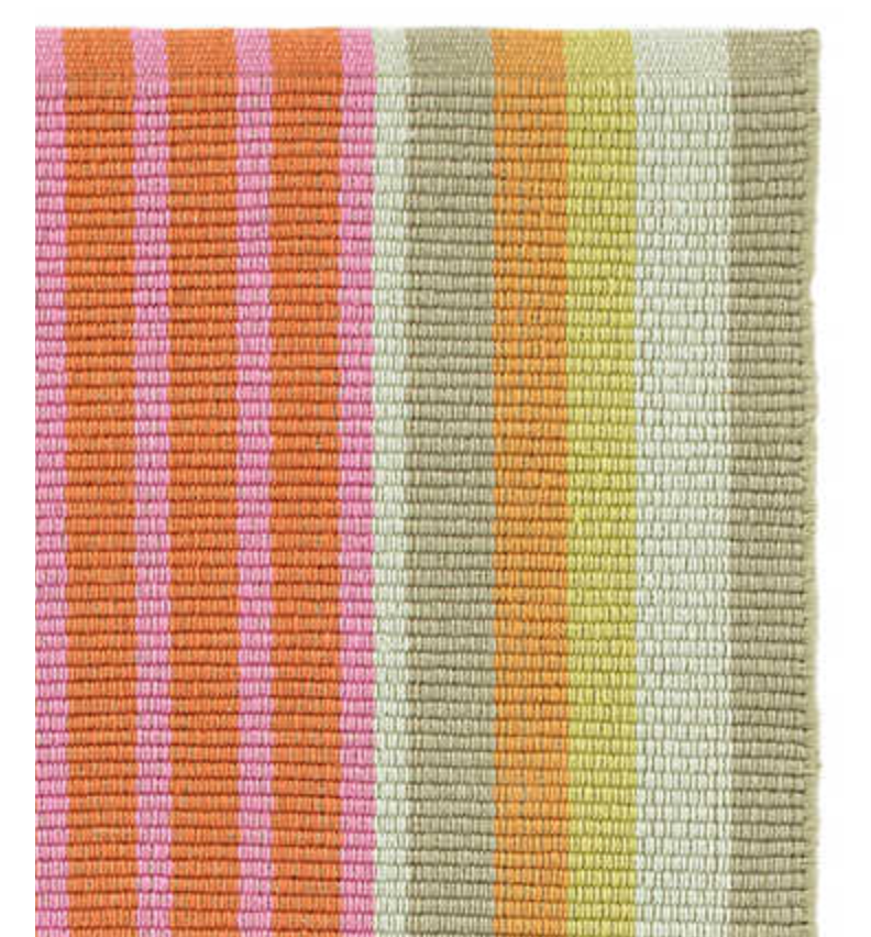 Furbish Studio - Joshua Tree Striped Rug in pink, orange, taupe close up pic of weave