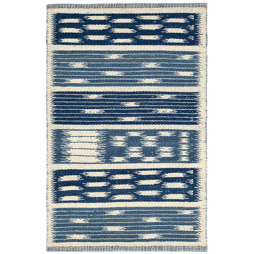 Furbish Stuio - Kasuri Woven Wool Rug by Mark Sikes in blue and ivory jacquard weave
