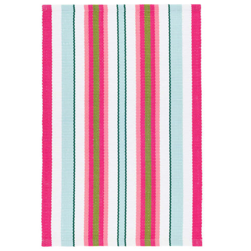 Furbish Studio - Lyford Cay Striped Rug in pinks, aqua, greens and white