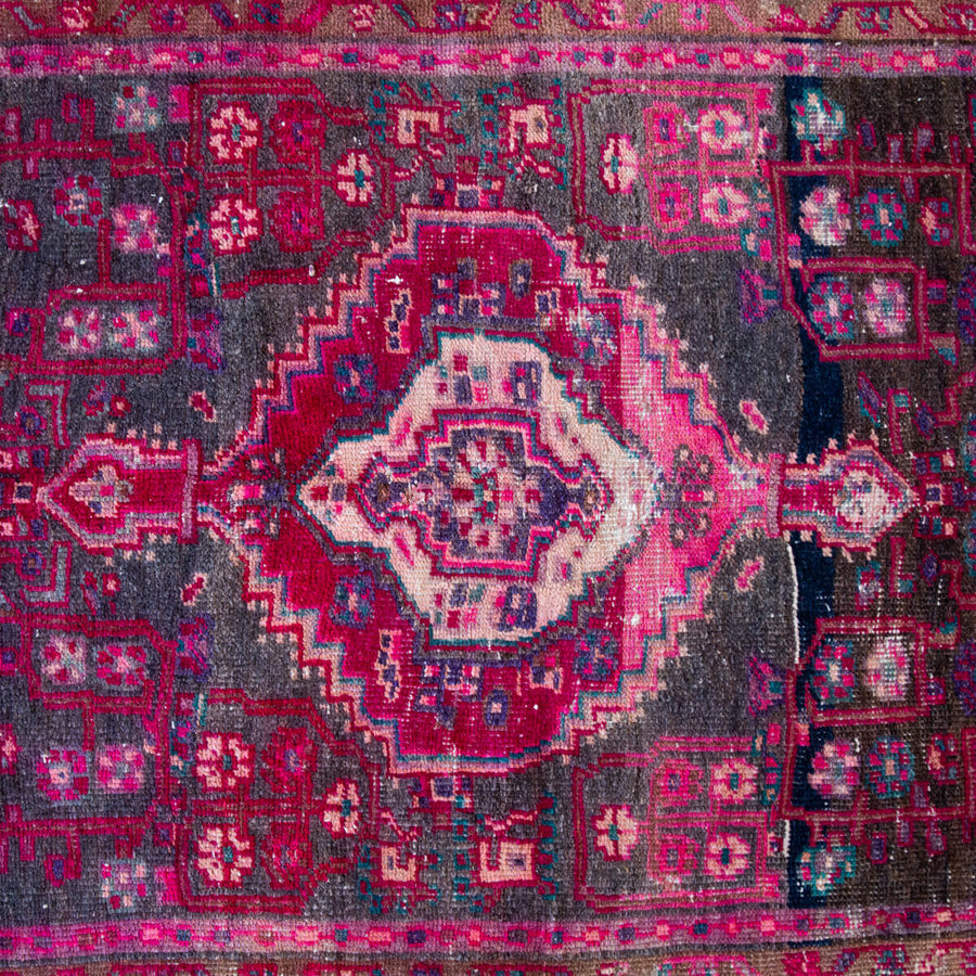 Furbish Studio - Maballe Vintage Wool Rug 4.3' x 7' closeup of center design and colors