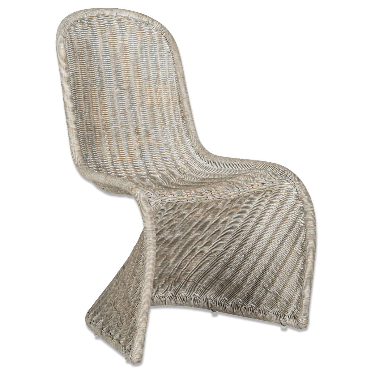 Furbish Studio - Madeline Wicker Chair Pair in Antique Grey one chair showing