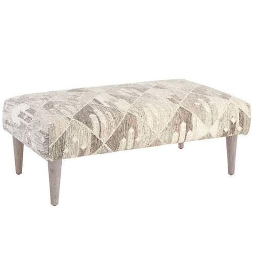 Malibu Farm Rug Ottoman with Cerused Leg - Grey