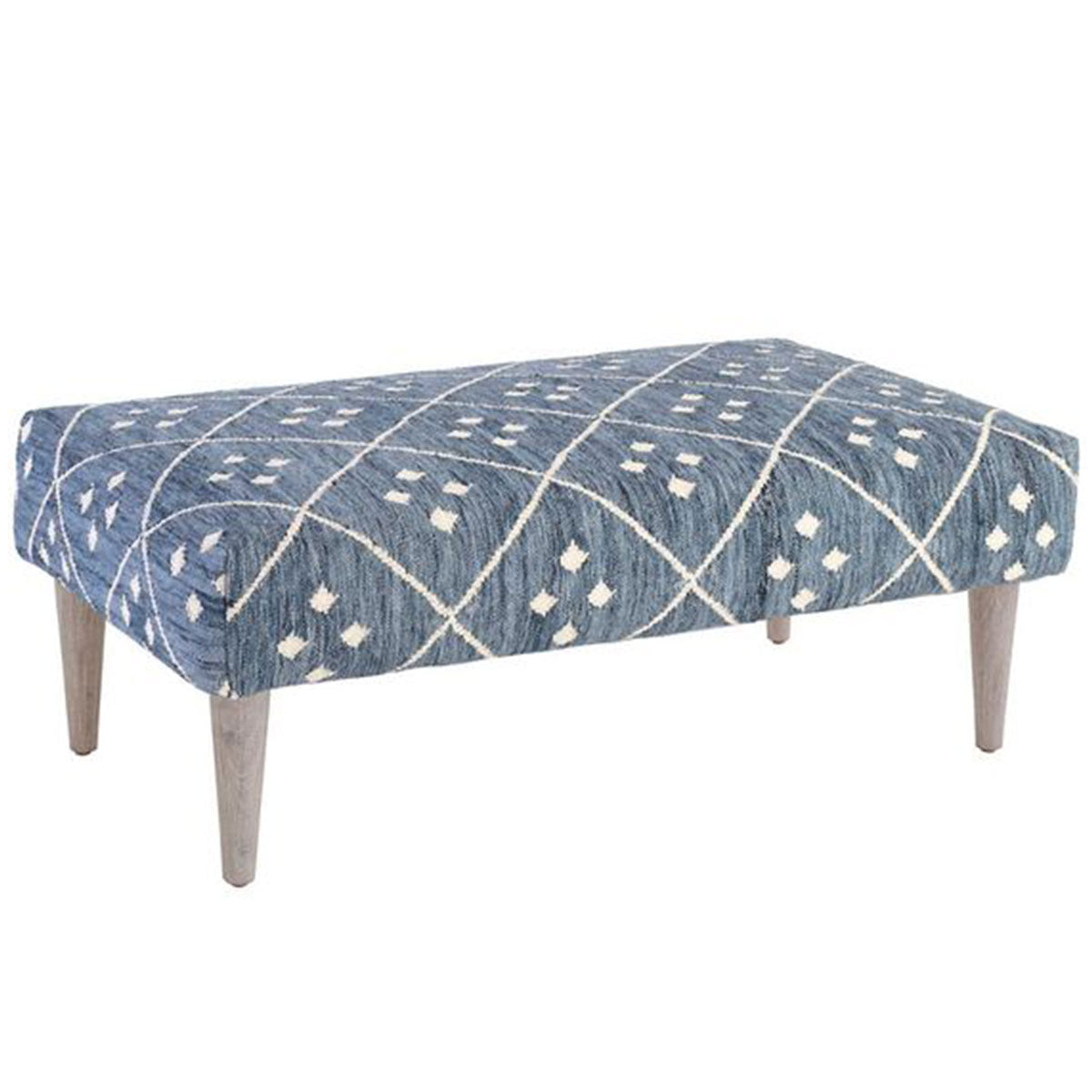 Malibu Farm Rug Ottoman with Cerused Leg - Indigo