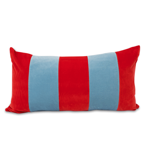 Furbish Studio - Mariposa Velvet Lumbar Pillow - Tomato Red and Sky Blue front view of pillow