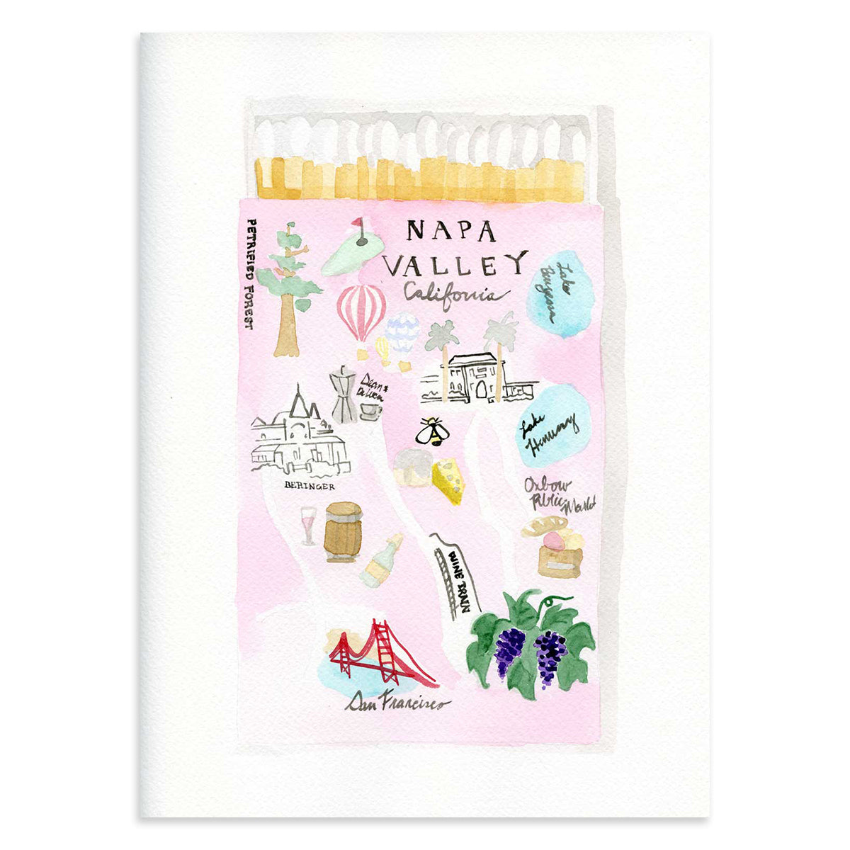 Napa Matchbook Watercolor Print