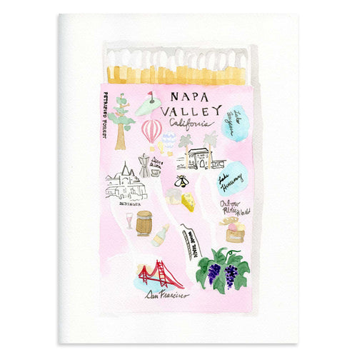 Furbish Studio - Napa Matchbook Watercolor Print large unframed