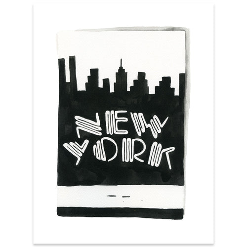 New York City Matchbook Watercolor Print