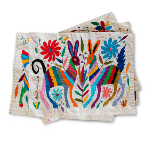 Furbish Studio - Otomi Placemats Handwoven and Embroidered colorful animals