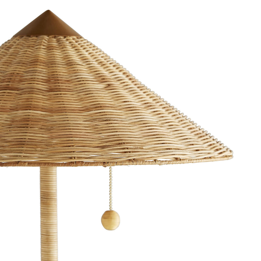 Furbish Studio - Rattan Wicker Parasol Floor Lamp close view of shade and pull