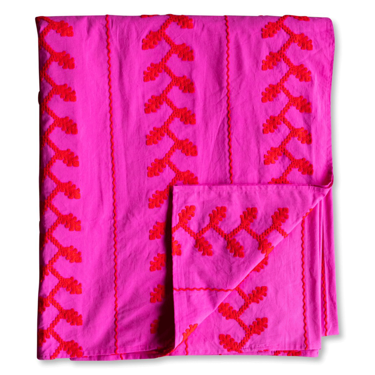 Helena Embroidered Textile - Pink