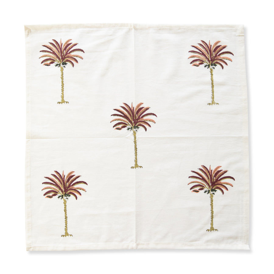 Furbish Studio - Pink Palm Napkin unfolded view with 5 pink palm trees