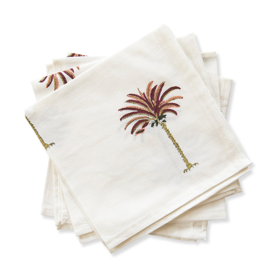 Furbish Studio - Pink Palm Napkin stack of 4 folded napkins