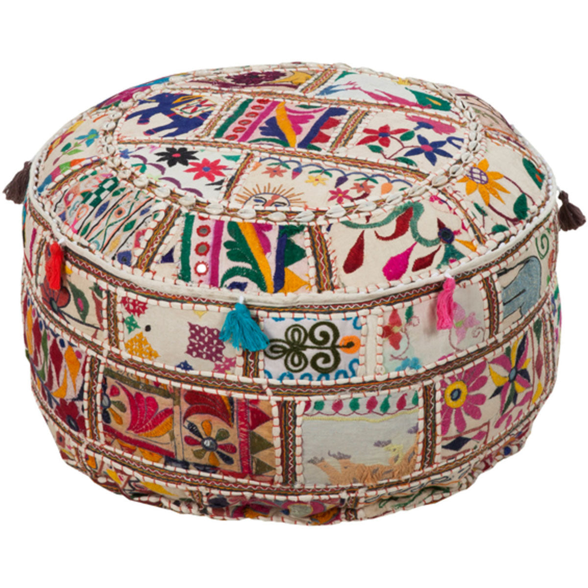 Pondicherry Tasseled Pouf
