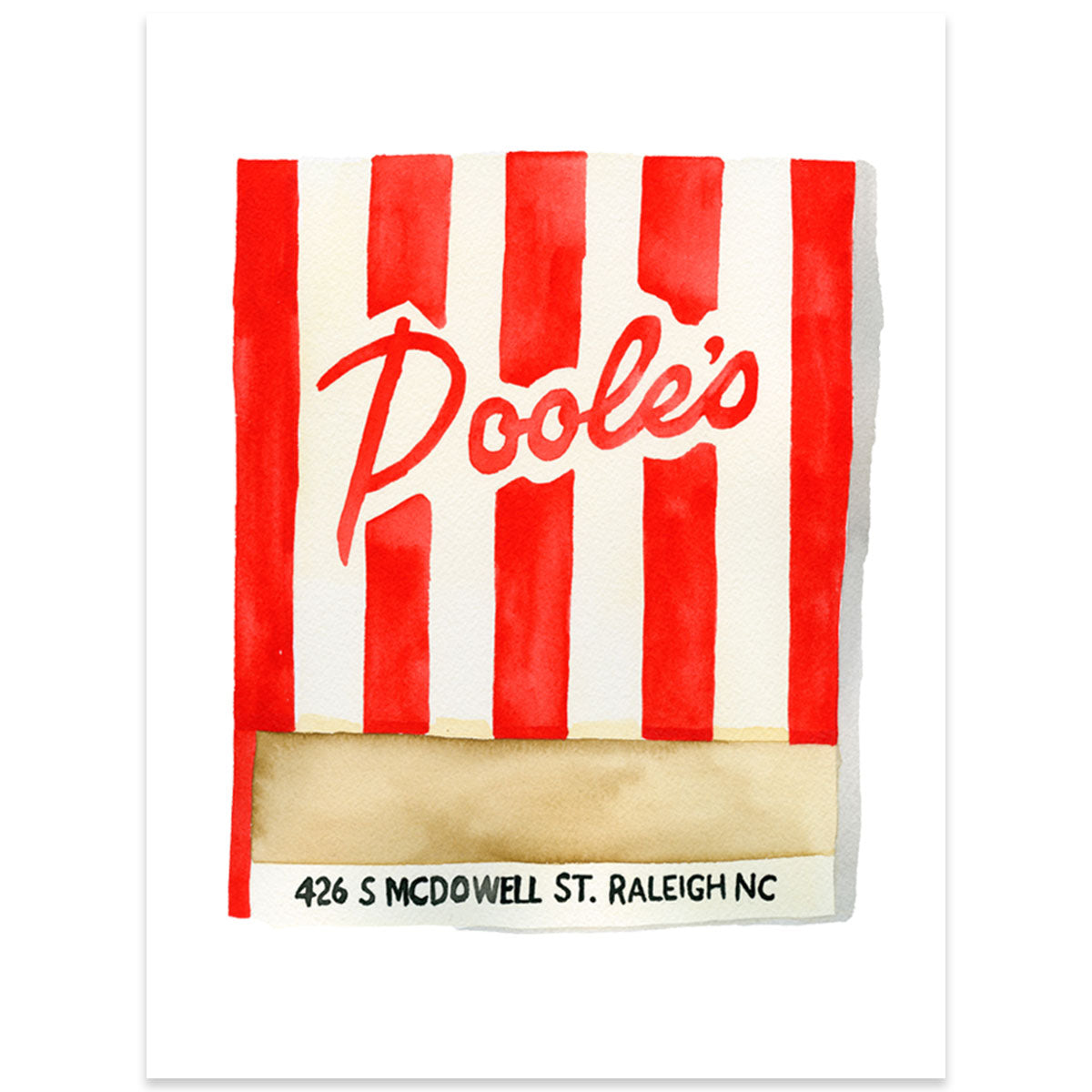 Poole's Diner Matchbook Watercolor Print