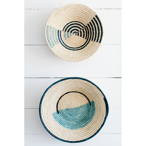 Geo Blue Raffia Bowl Set