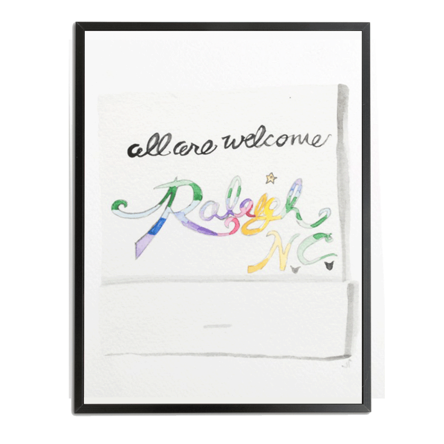 Furbish Studio - All Are Welcome to Raleigh Matchbook Watercolor Print large framed