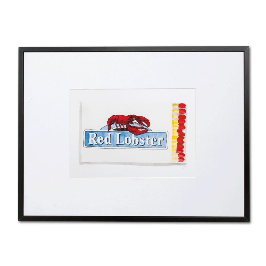 Furbish Studio - Red Lobster Matchbook Watercolor Print small framed