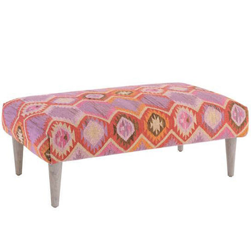 Silverlake Rug Ottoman with Cerused Leg