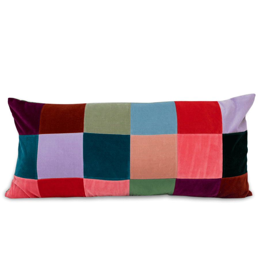 Furbish Studio - Suki Multicolored Velvet Squares Lumbar Pillow front view